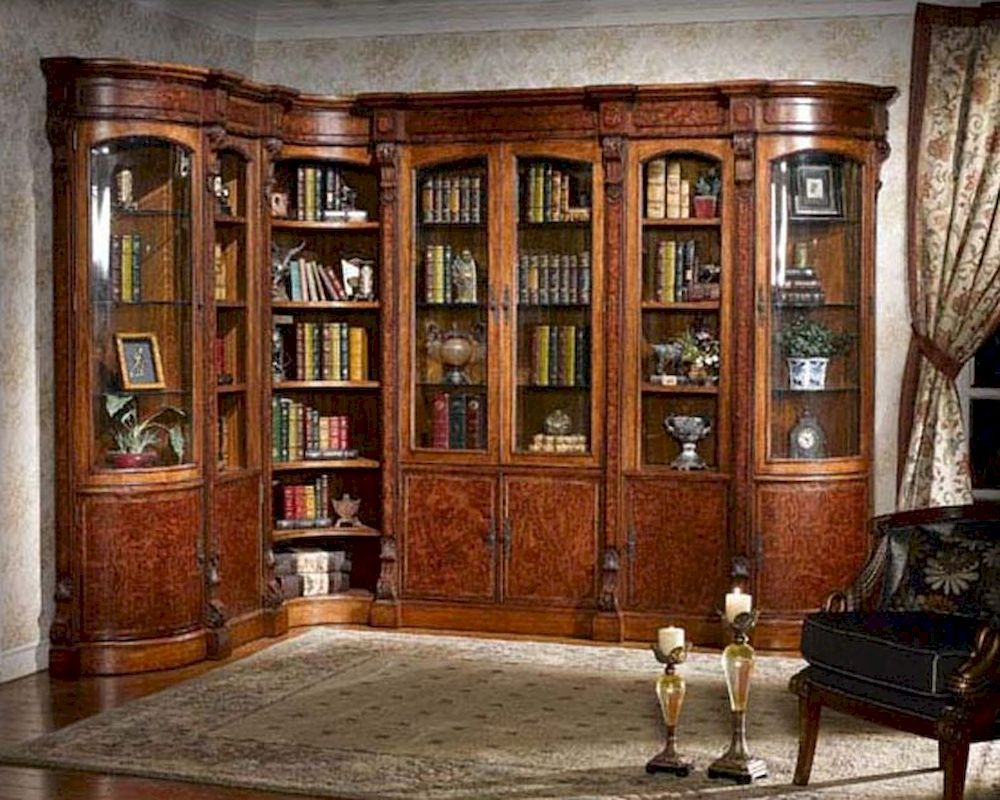 Infinity Furniture Library Wall Unit Louis Xvi Inlv Set3 Breakfront Bookcase Formal Living Room Decor Bookcase Plans