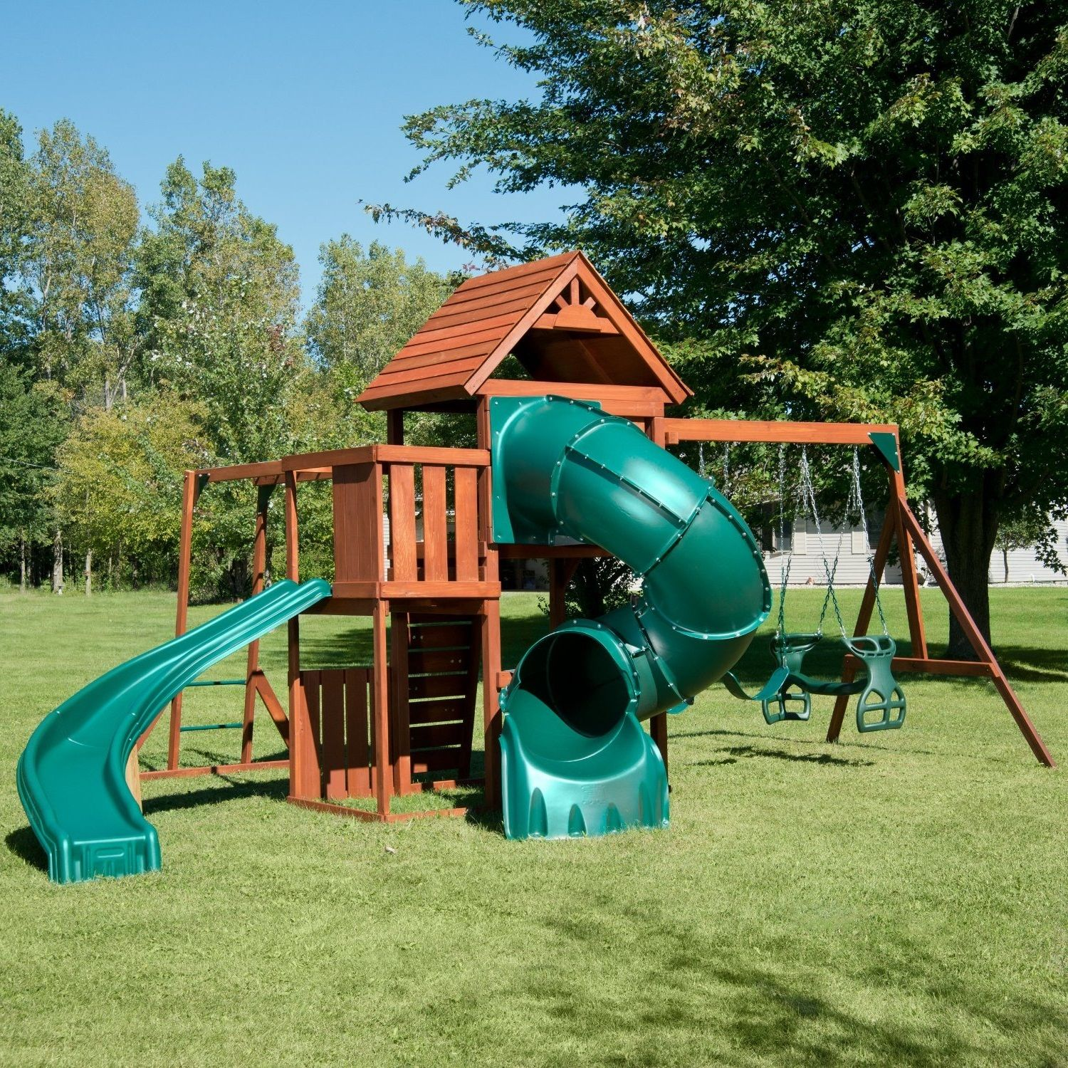 playground sets equipment backyard slides swing wood playset