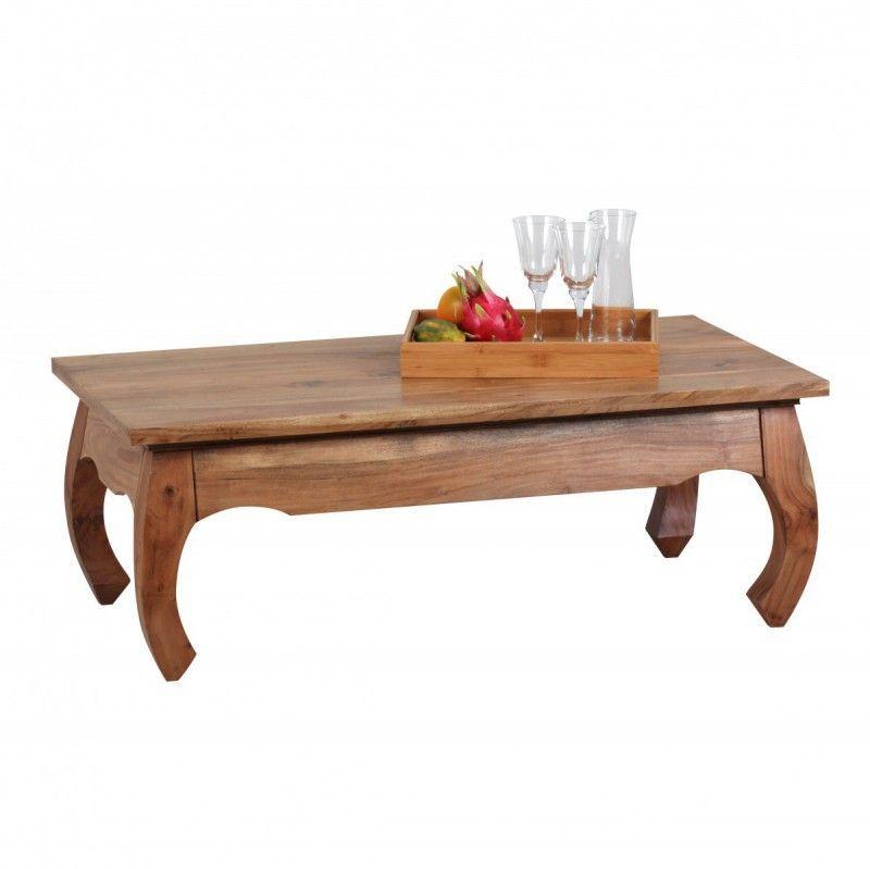 WOHNLING Akazie Opium Couchtisch Massiv 110 x 60 cm Massivholz Jetzt - Moderne Tische Fur Wohnzimmer