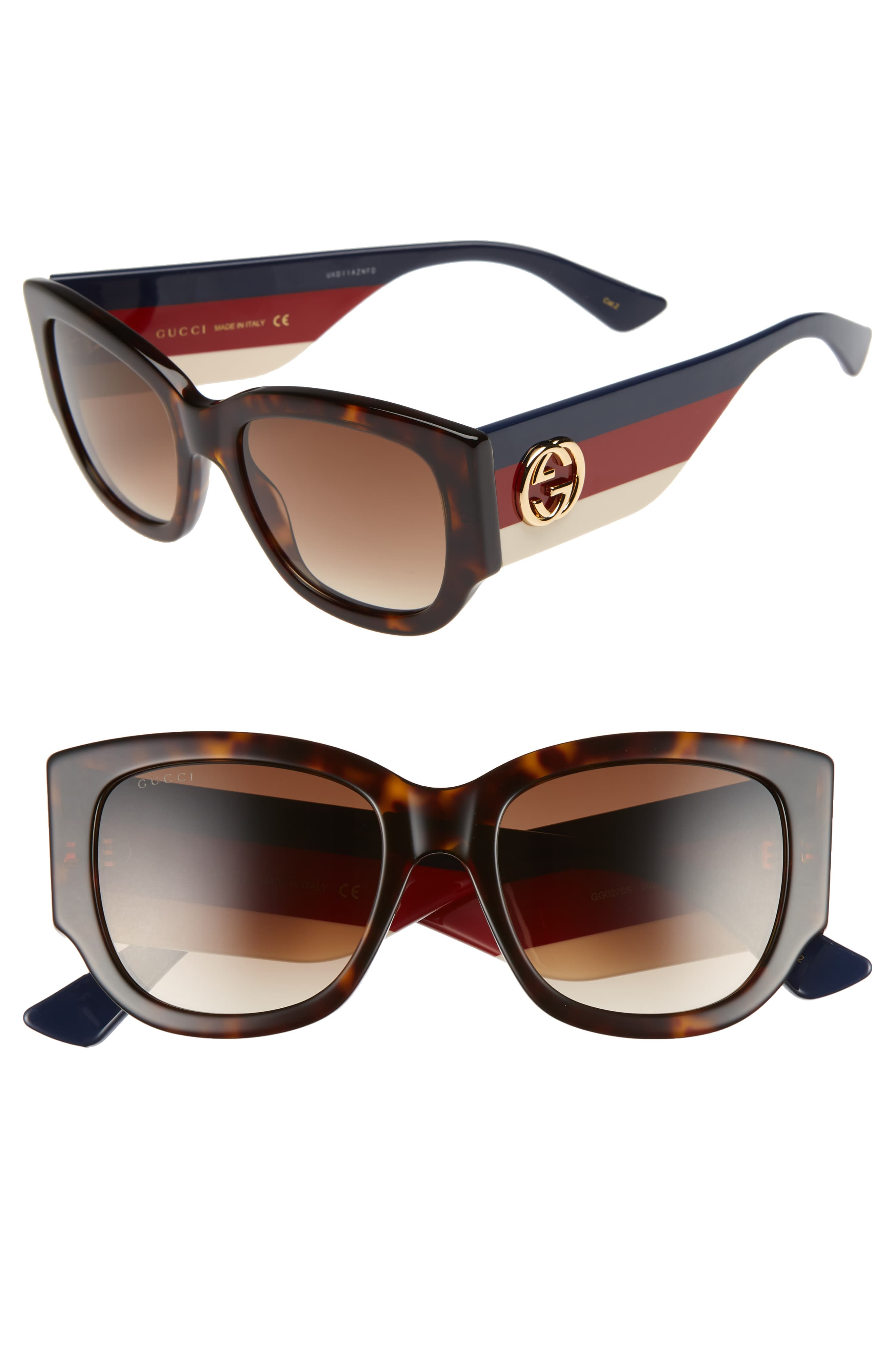 3c569ebd3eff4 Free shipping and returns on Gucci 53mm Cat Eye Sunglasses at  Nordstrom.com. Bold stripes and logo medallion hardware stand out at the  temples of ...