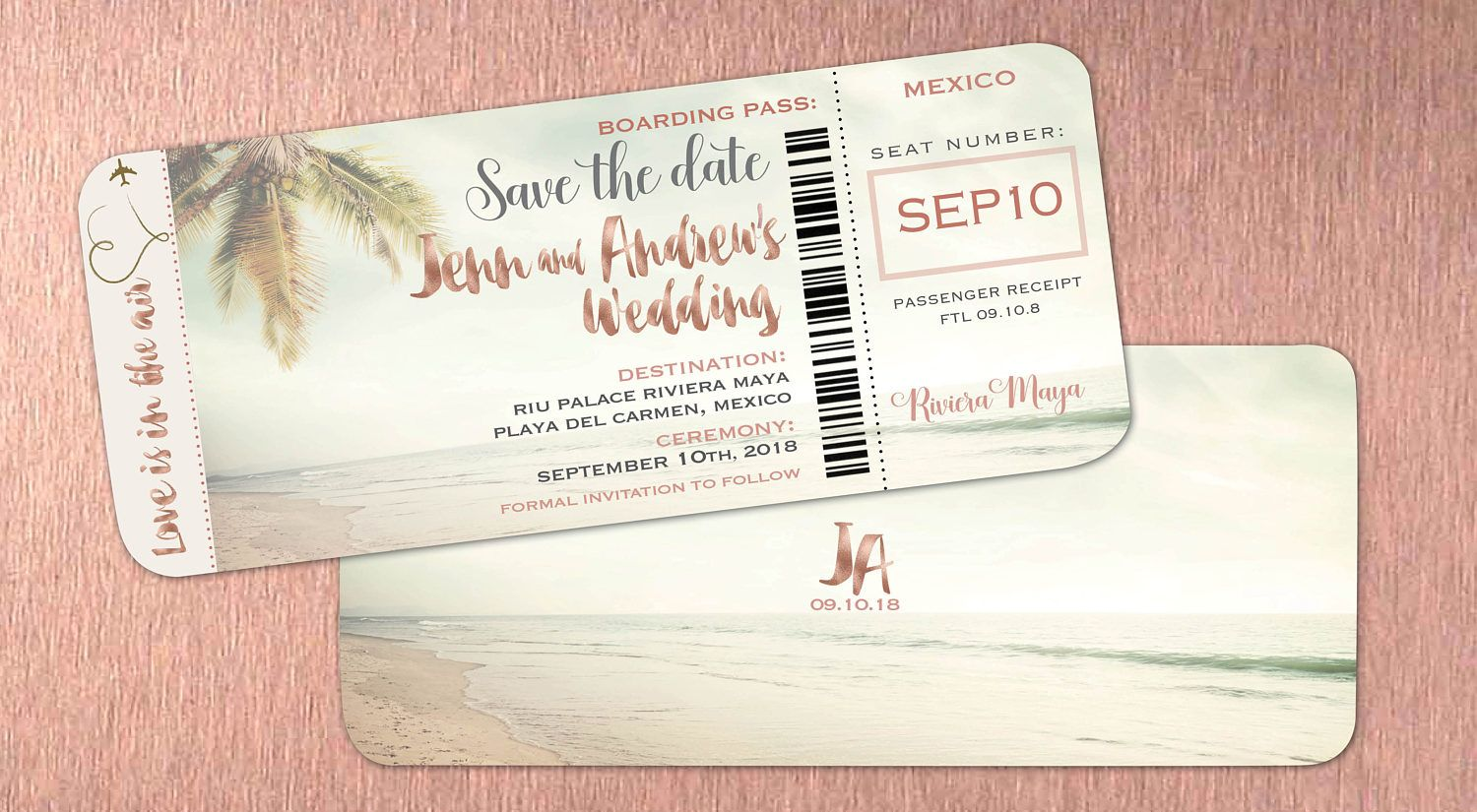 Rose Gold Boarding Pass Save the Dates Shimmer Font Lettering ...