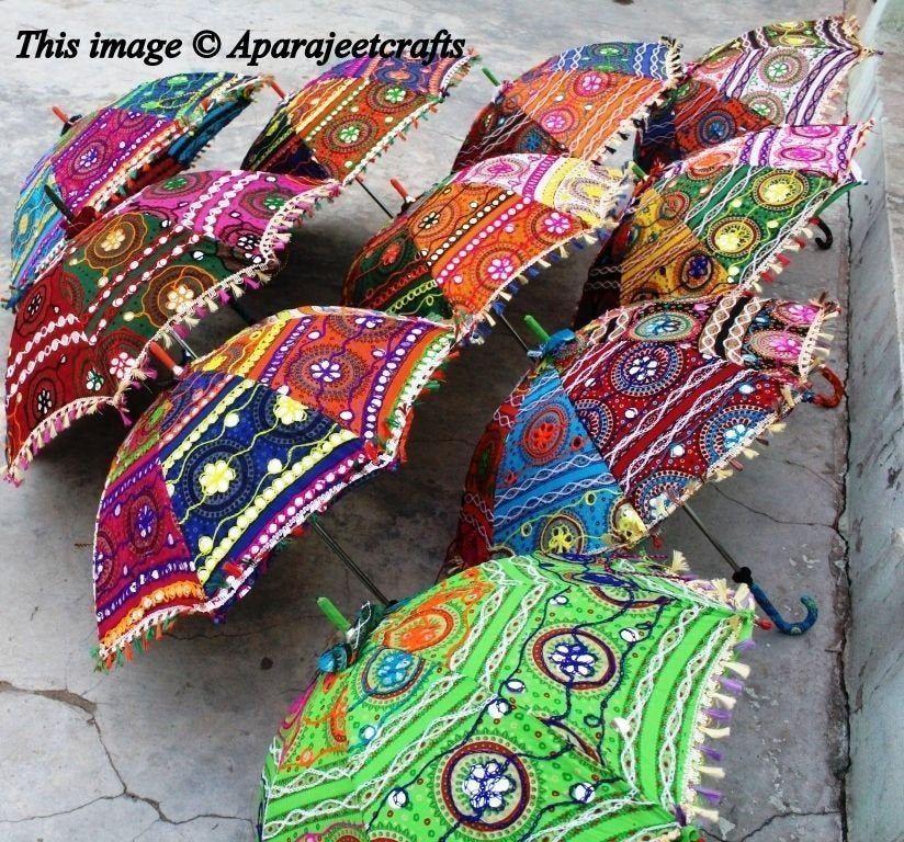 Wholesale Lot 5 Pc Indian Handmade Embroidered Decor Parasol Vintage Umbrella