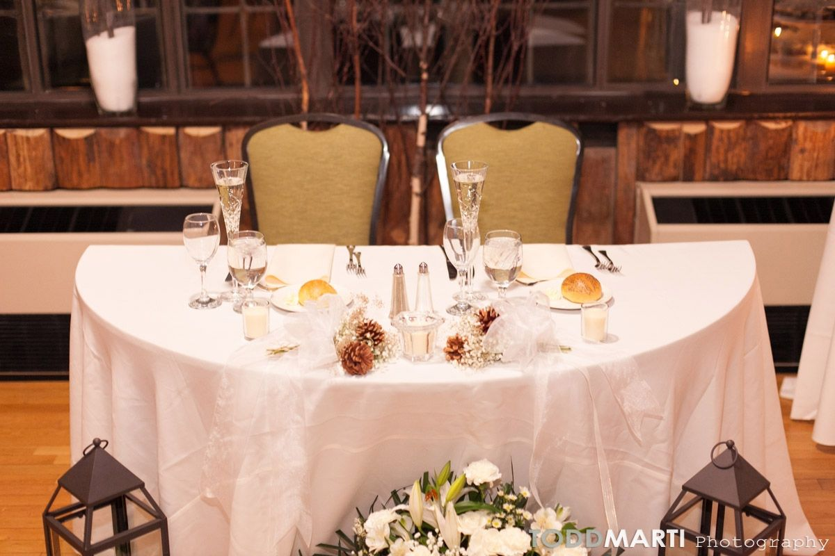Winter Wedding At Bear Mountain Inn  Bride And Groomu0027s Table Setting Via  @ToddMarti