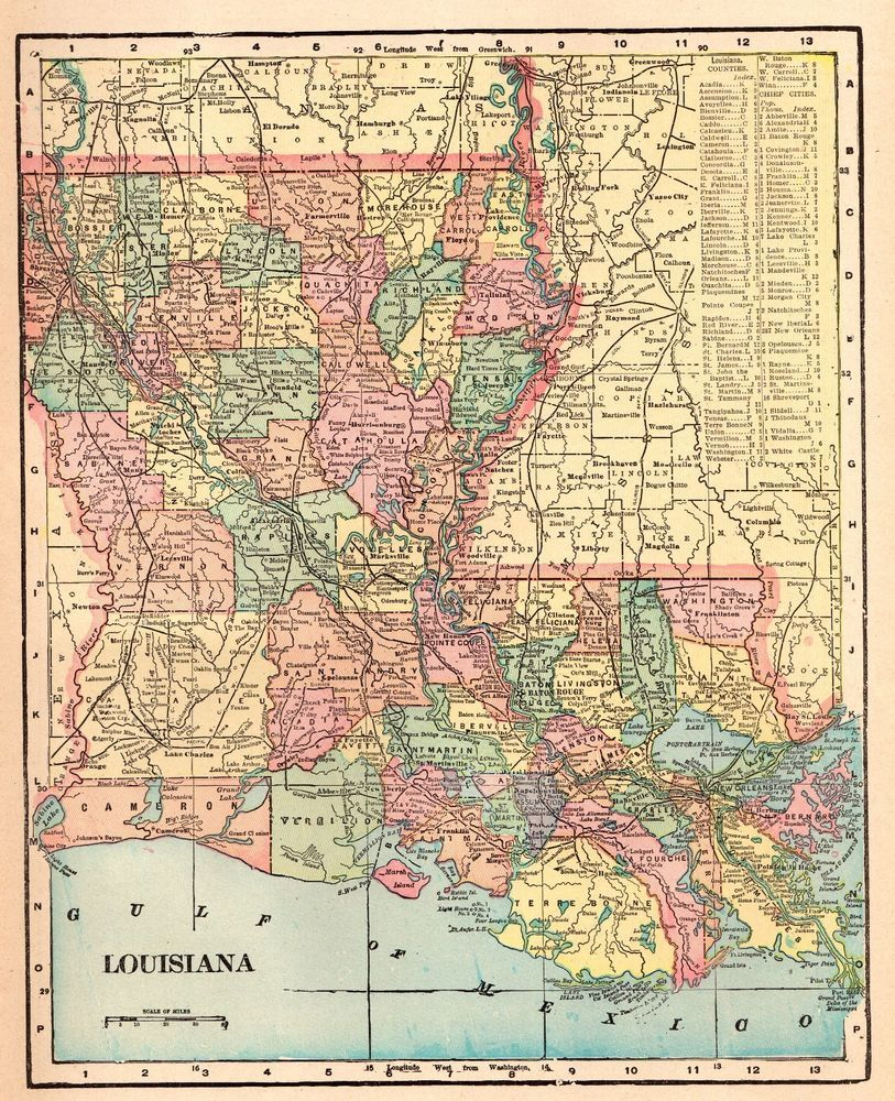 1901 Antique LOUISIANA Map Vintage State Map of LOUISIANA Gallery ...