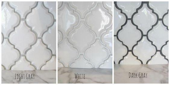Arabesque White Tile With Grey Grout Google Search Subway Tile Backsplash Kitchen Kitchen Backsplash Designs Kitchen Tiles Backsplash