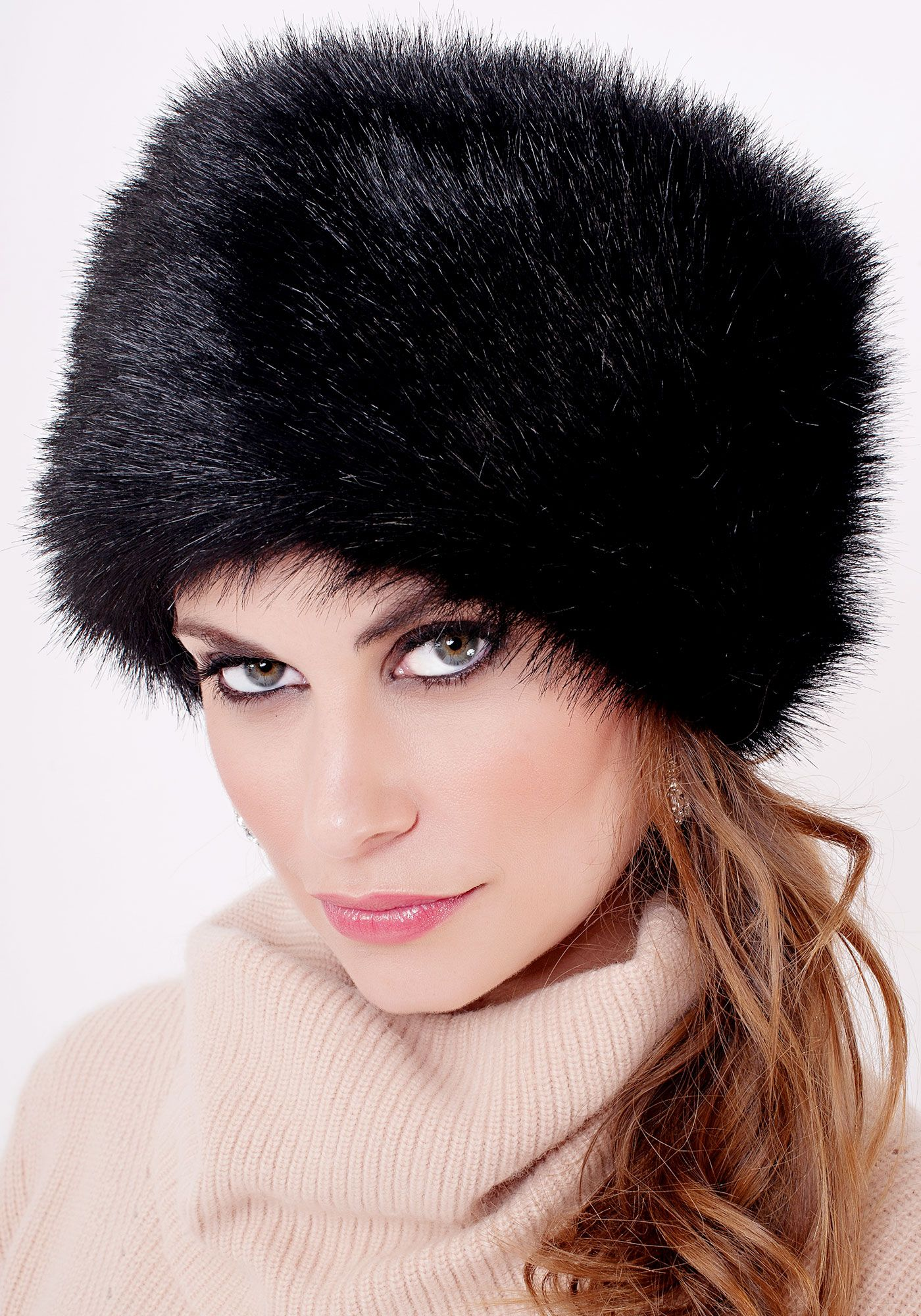 Black Fox Faux Fur Russian Hat  0494769bc573