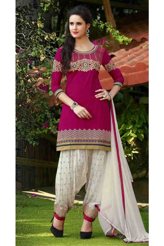 Majesty Magenta Cotton Embroidered Work Patiala Salwar Suit