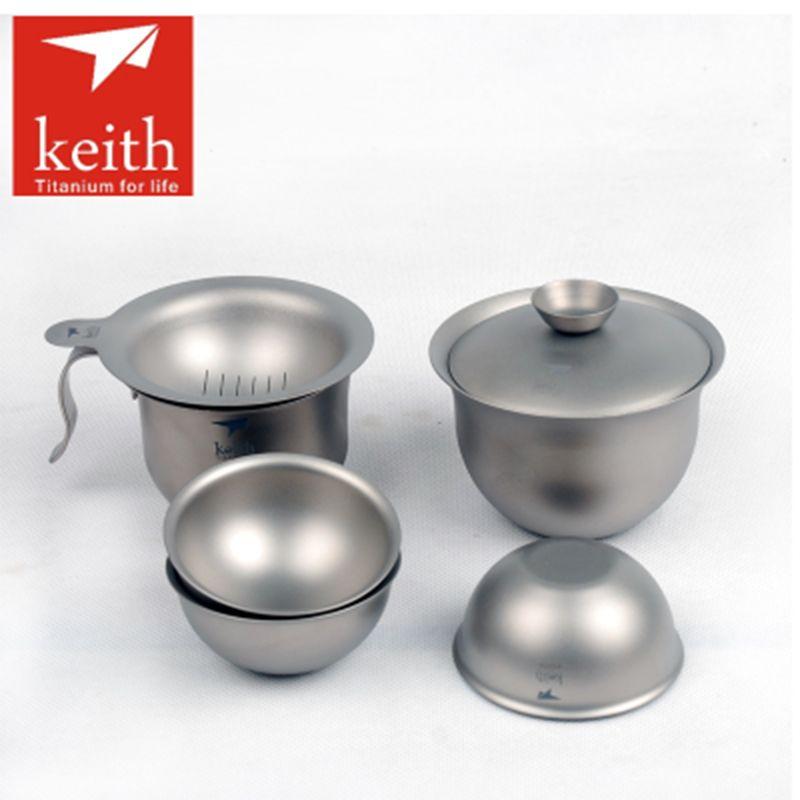 6pcs Set Keith Titanium Tea Cup Set Outdoor Camping Hiking Teaware
