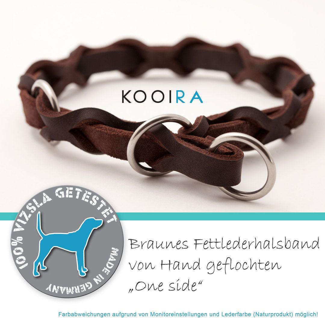 Fettleder Hundehalsband Zugstopp One Side Geflochten Lederhalsband Hund Halsband Leder