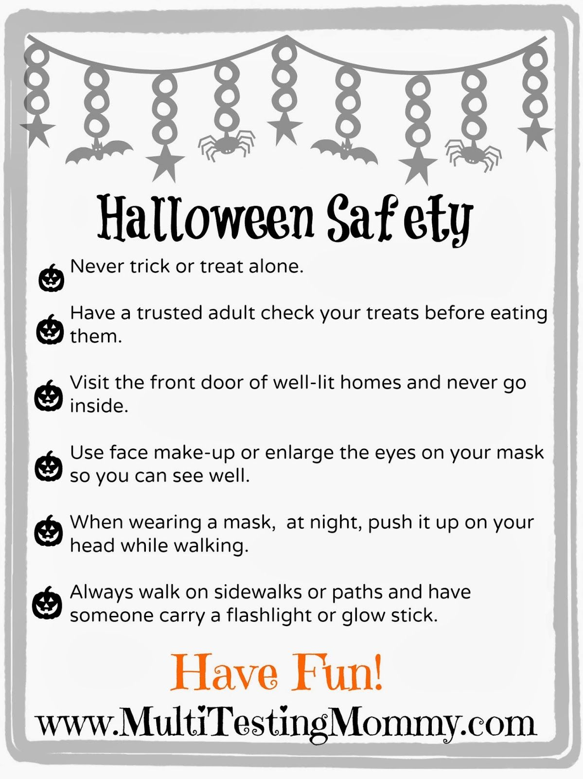 Halloween Safety Tips for Kids {Printable Halloween
