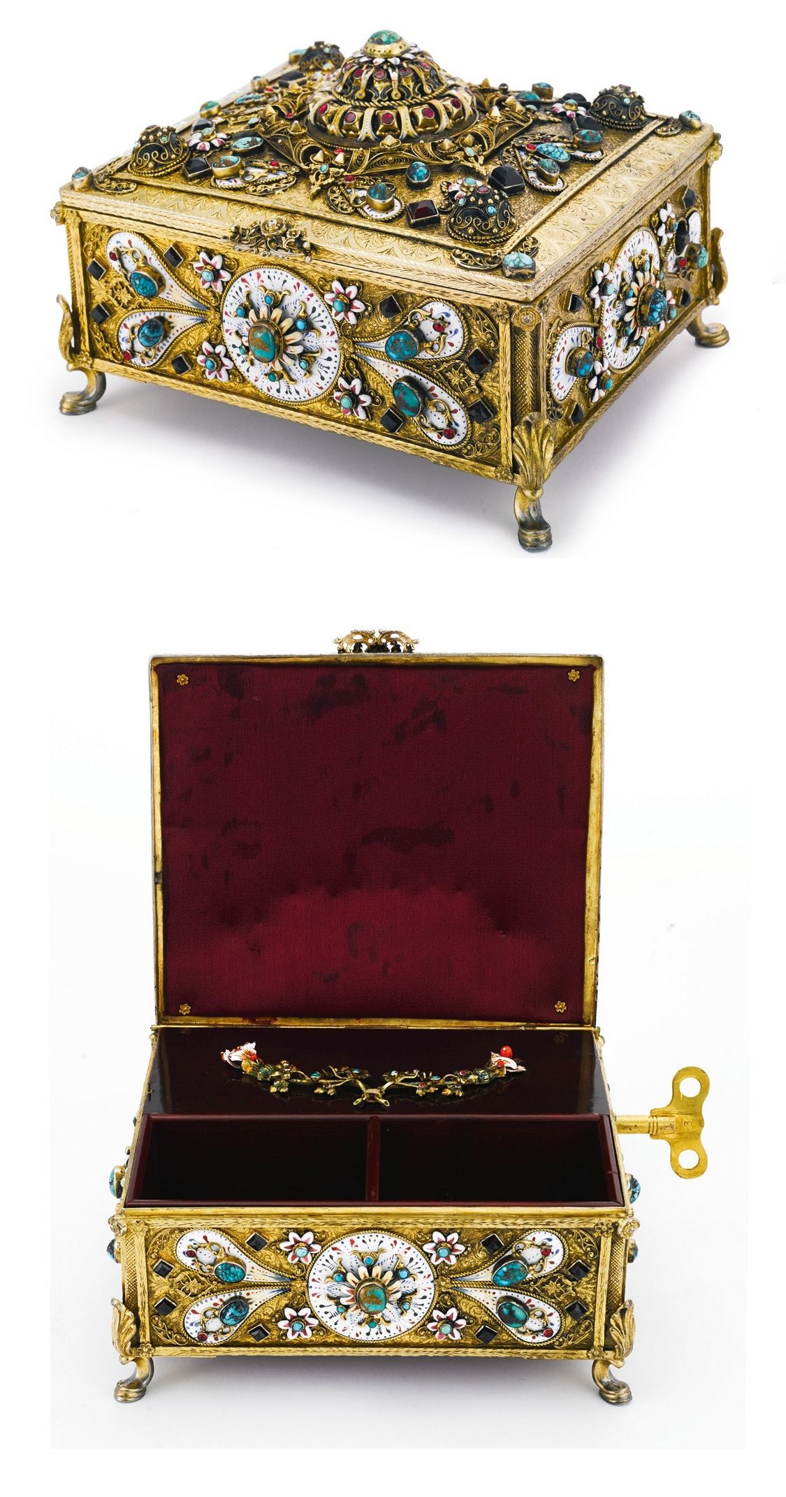 A HUNGARIAN SILVER-GILT, ENAMEL AND GEM-SET MUSICAL ...