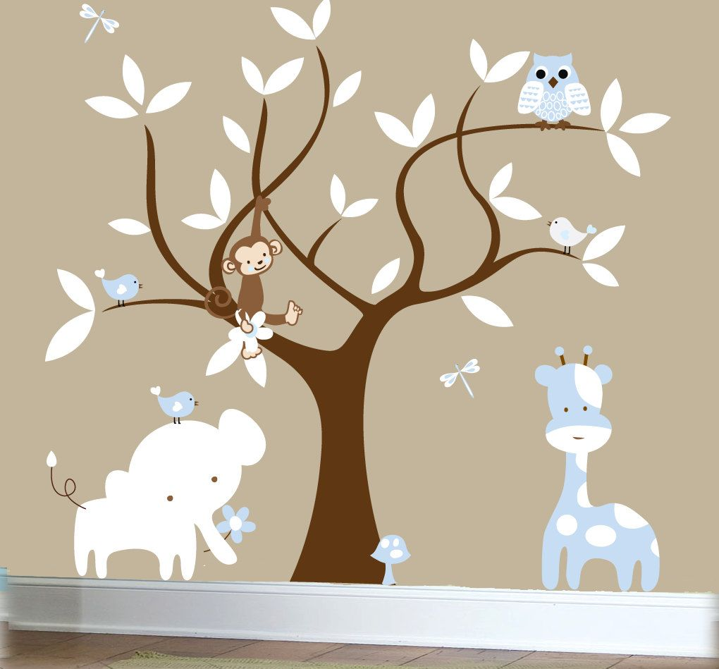 Children's jungle decal set, tree wall decal, jungle ...
