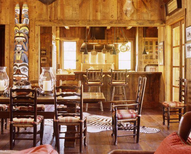 Rustic Cabin Interiors | Rustic Dining Room San Francisco California Ranch  House