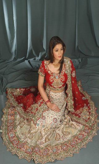 28df649bce Indian bride in cream and red color Paintings | Latest indian bridal lehenga  choli | Eastern Dress Designs