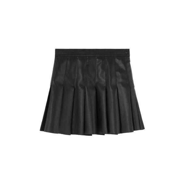 Pleated Leather Mini Skirt (33,250 KRW) ❤ liked on Polyvore featuring skirts, mini skirts, mini skirt, pleated mini skirt, leather miniskirt, pleated leather mini skirt and short pleated skirt