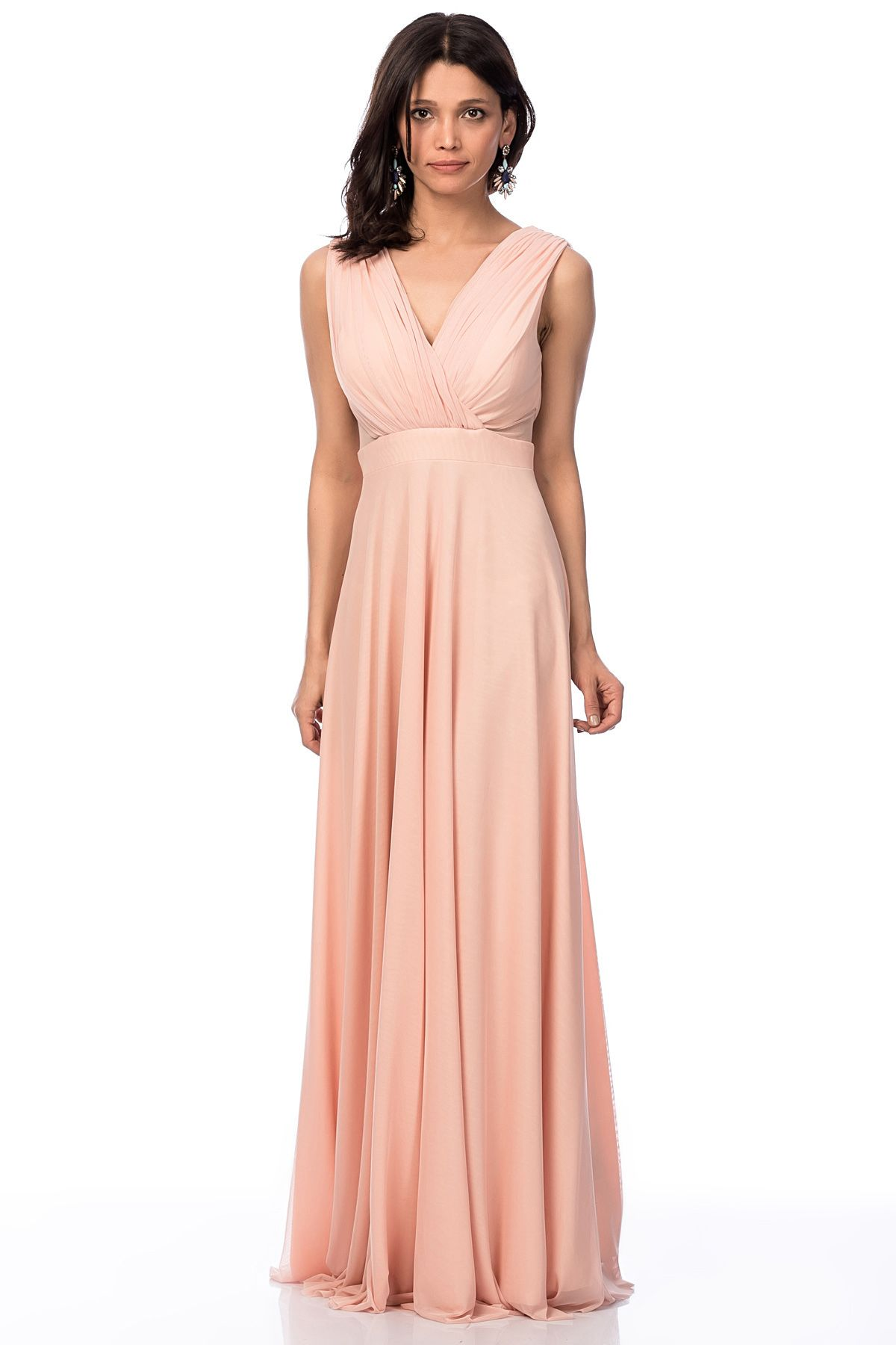 Pictures gece elbise modelleri 2013 uzun dekolteli gece elbise modeli -  Ron Apraz Askili Dekoltel Uzun Somon Ab Ye Elb Se Kuma Bilgisi 95 Polyester