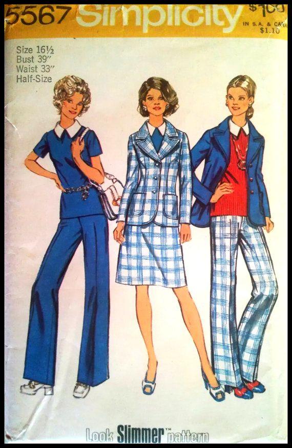 5455 Vintage Simplicity Sewing Pattern Misses Shirt Jacket Skirt Pants OOP Sew