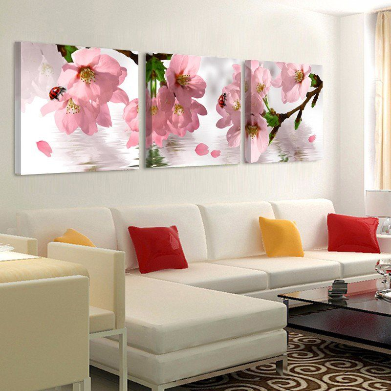 Pink Peach Flower Canvas Prints Living Room Wall Art Painting Wall Art Living Room Flower Painting Canvas Wall Art Canvas Painting