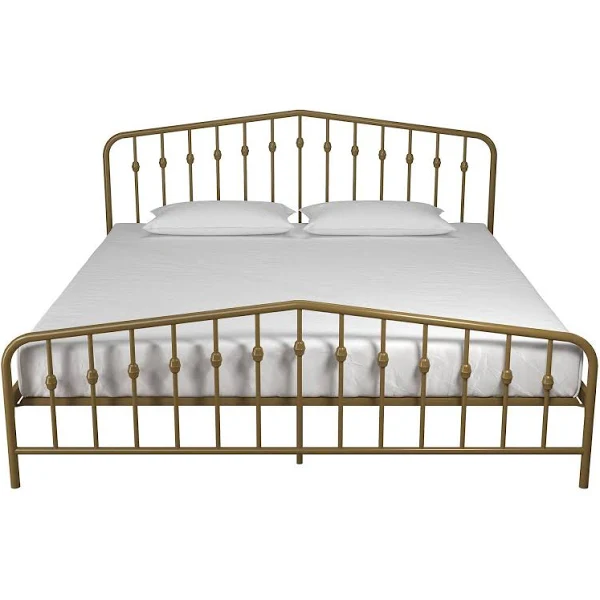 Novogratz Bushwick King Metal Bed Gold Mid century