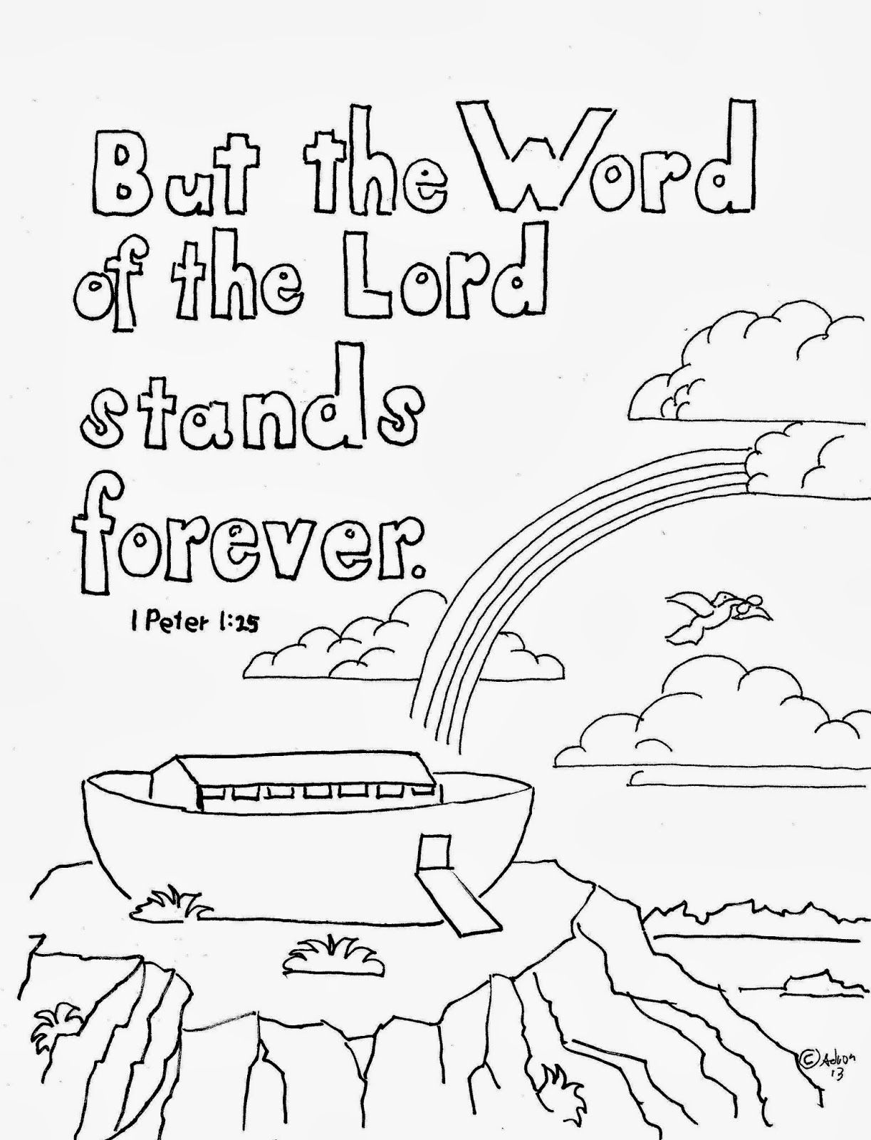 But the word of the lord last forever coloring page