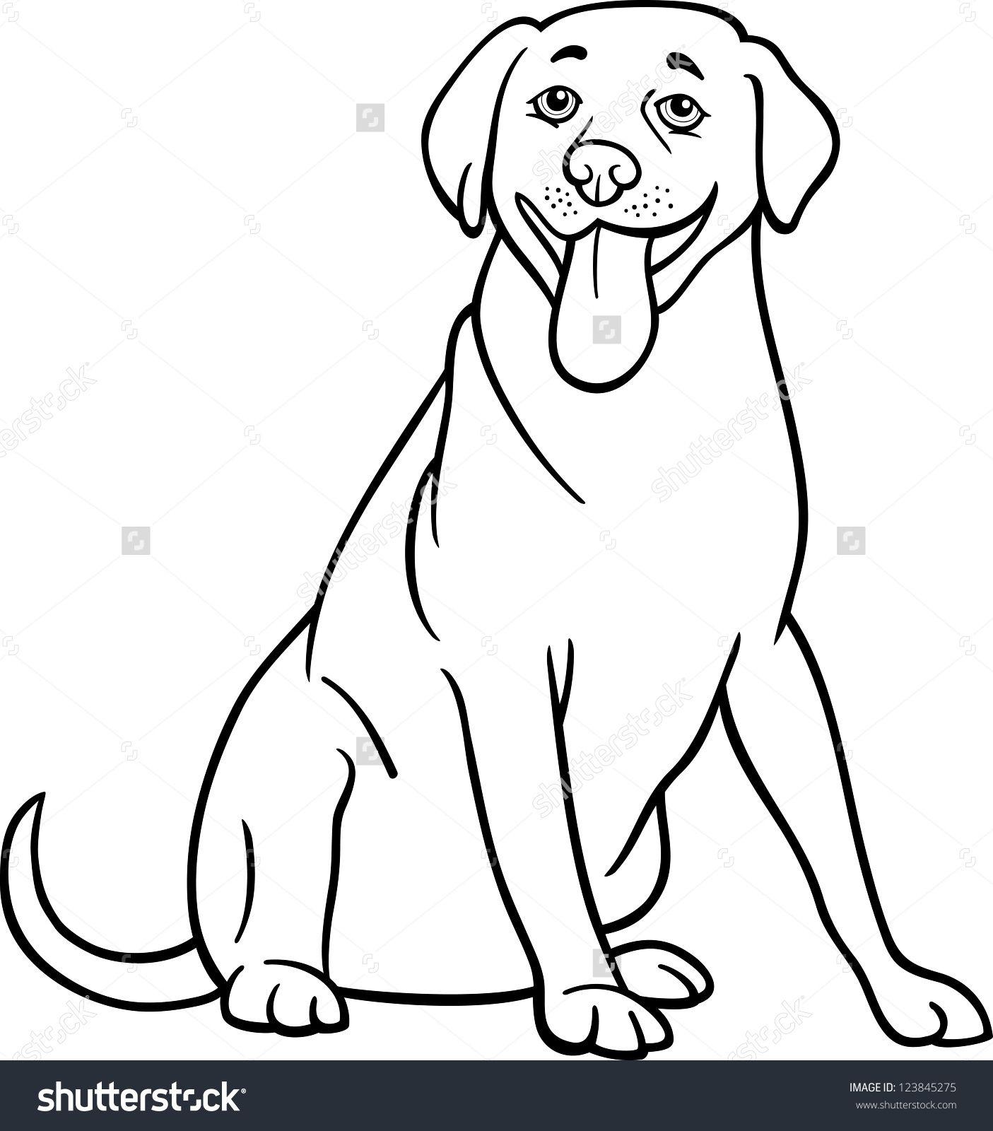 black and white cartoon illustration of funny labrador