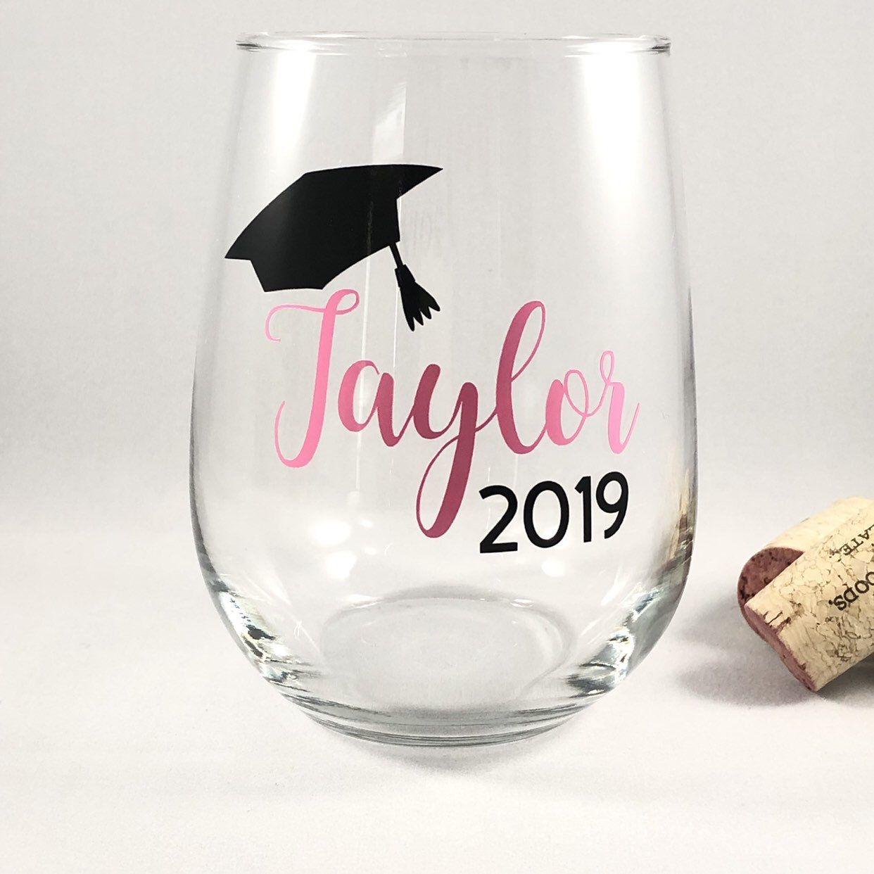College Graduation Gift Idea/Graduation Gift/Graduation Wine Glass/Personalized Graduation/Class of 2020/Funny Graduation Gift