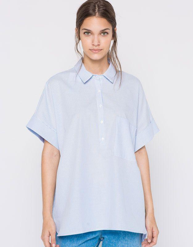 Camicie Camicia Polo Women Camicie a Pullbear maniche e corte Shirt 3Acj4RL5q