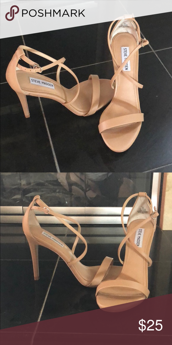 ce548b2676a4 Steve Madden nude stilettos Steve Madden strappy Sandal heels with a 4 inch  heel. Like new. Looking for a good home. Worn one time for a wedding for 30  ...