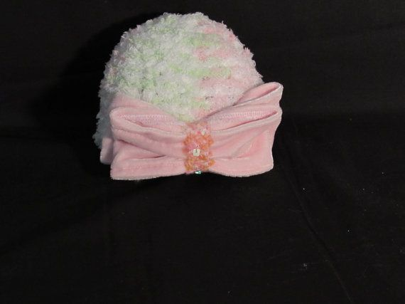 Loom Infant hat with velvet embellished bow by SharonsHomeSewn, $10.00