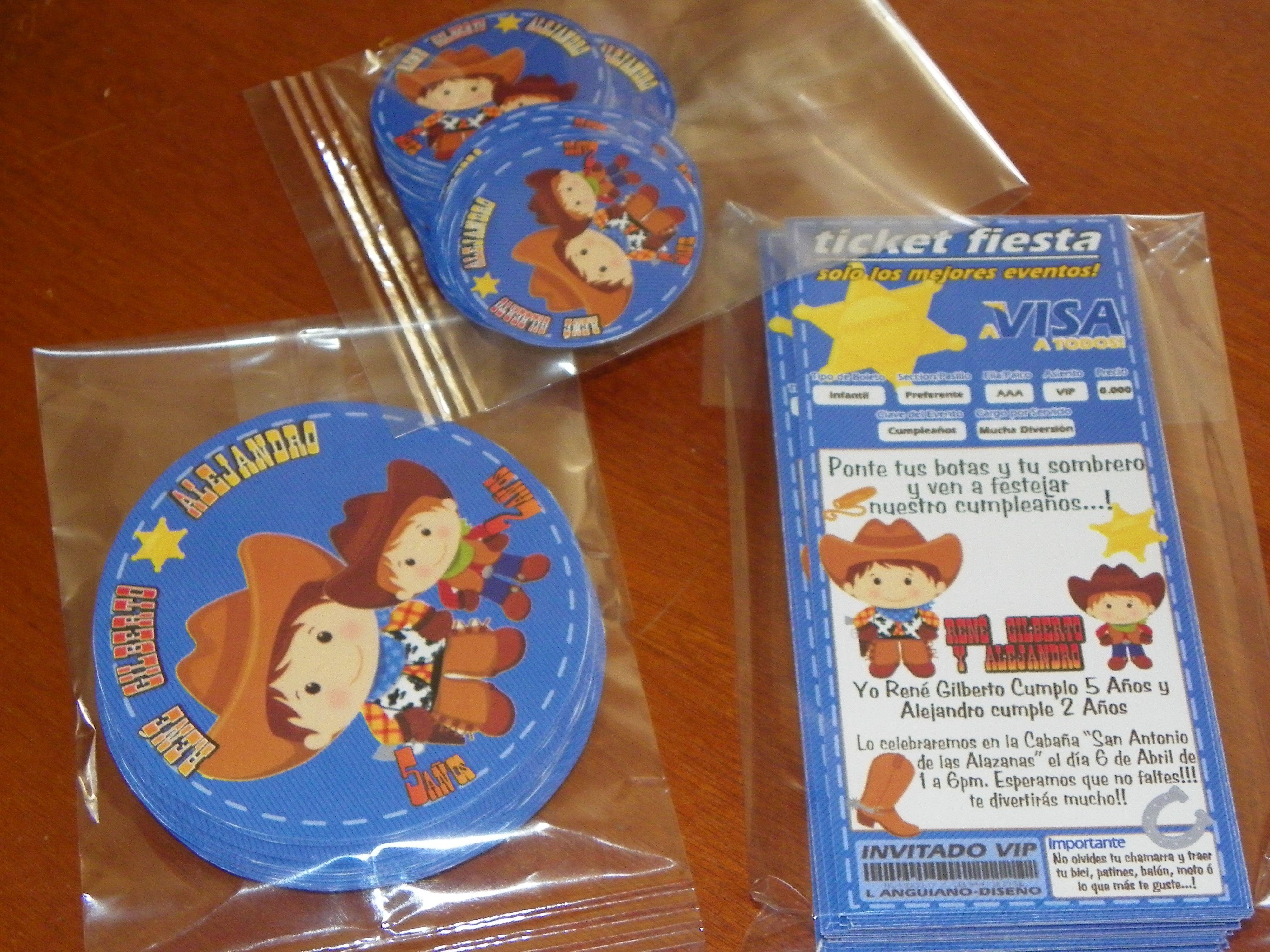 Pack Infantil 50 invitaciones 50 stickers para bolsitas de