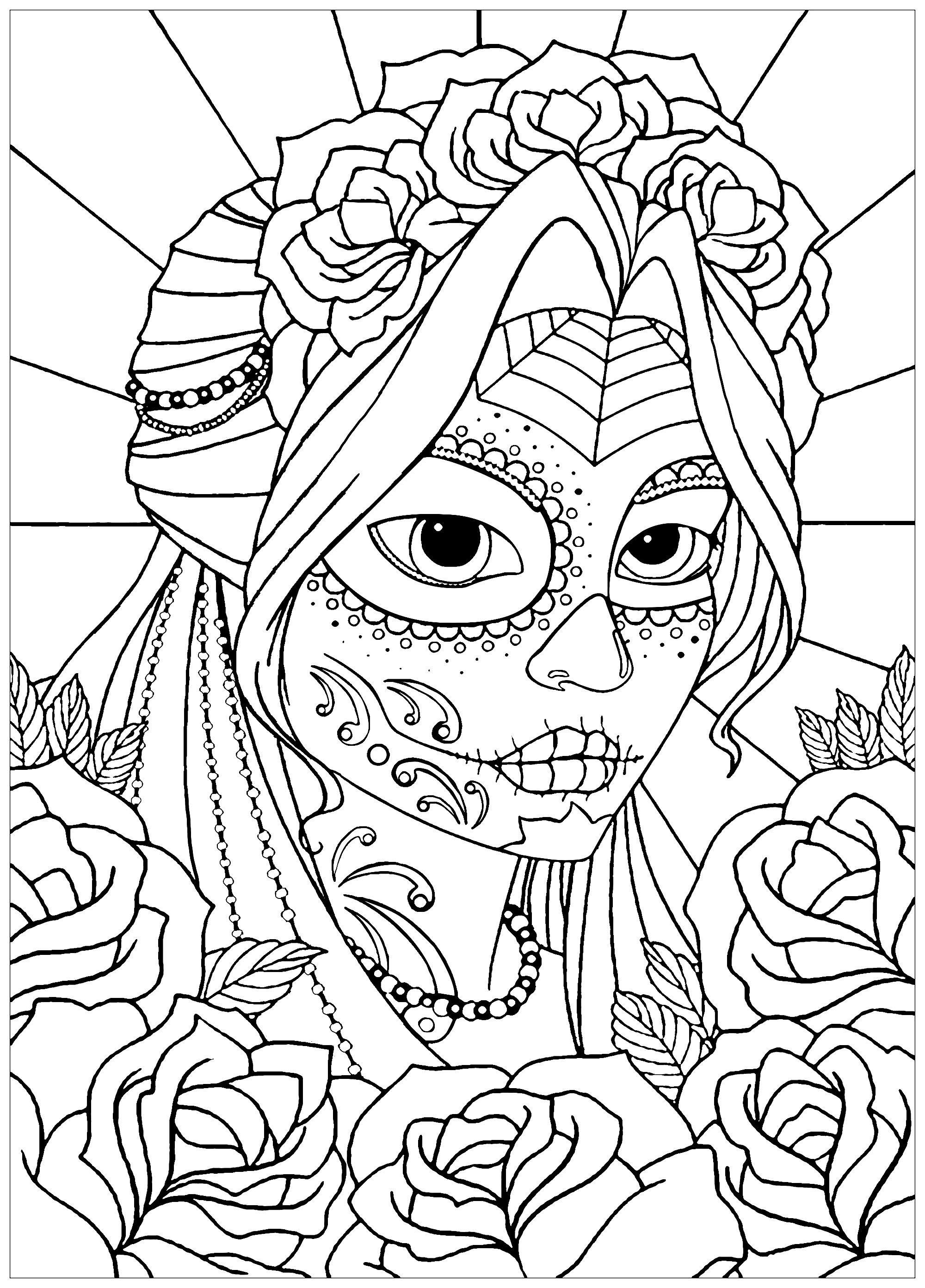 Woman El Dia De Los Muertos El Dia De Los Muertos Coloring Pages