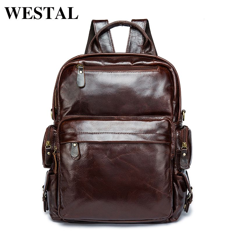 WESTAL Leather Backpack Brand Men's Travel Bags Luggage School Bag ...
