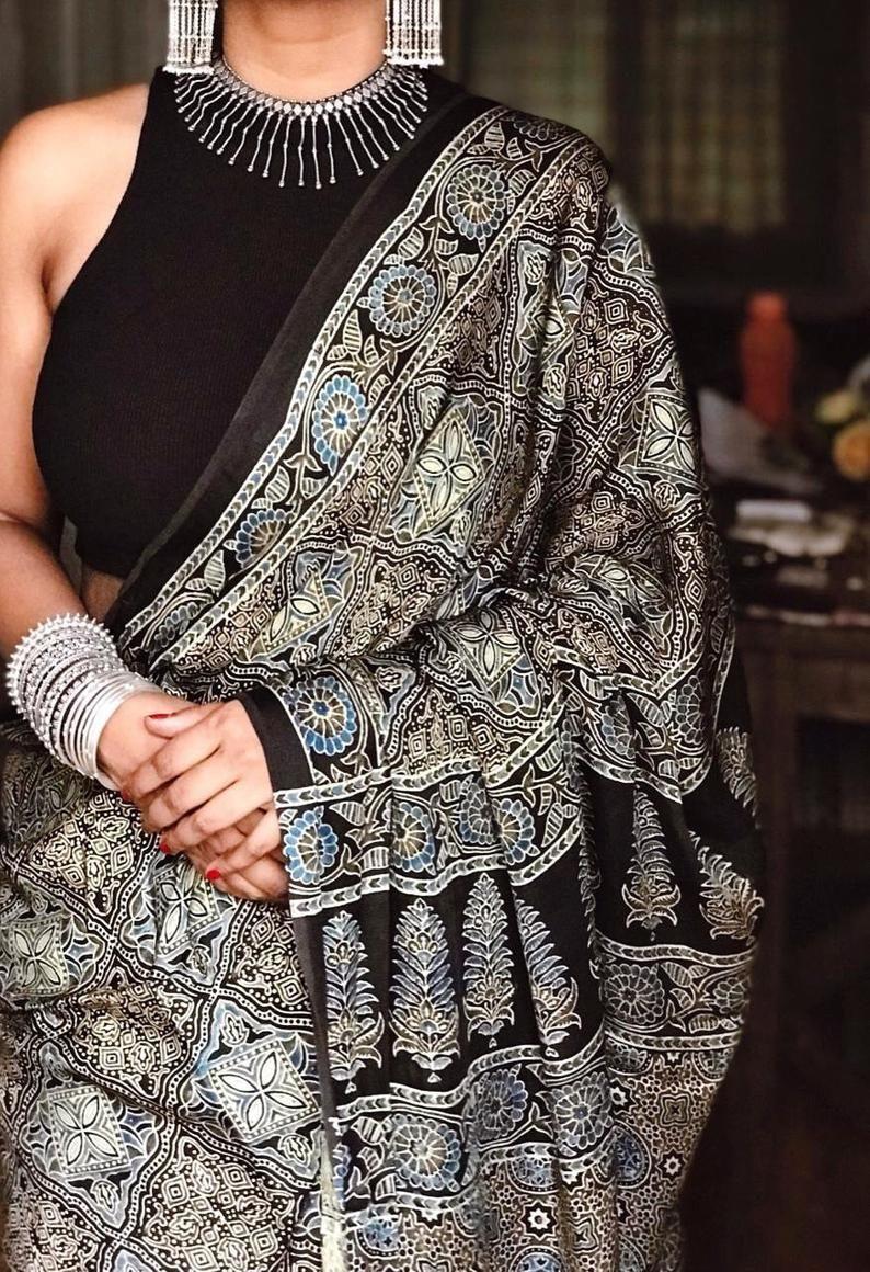 Ajrakh handblock printed modal silk saree | Etsy