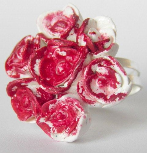 Polymer Roses Ring, Handmade, Painted (Badly) Red on an Adjustable Ring, Alice in Wonderland