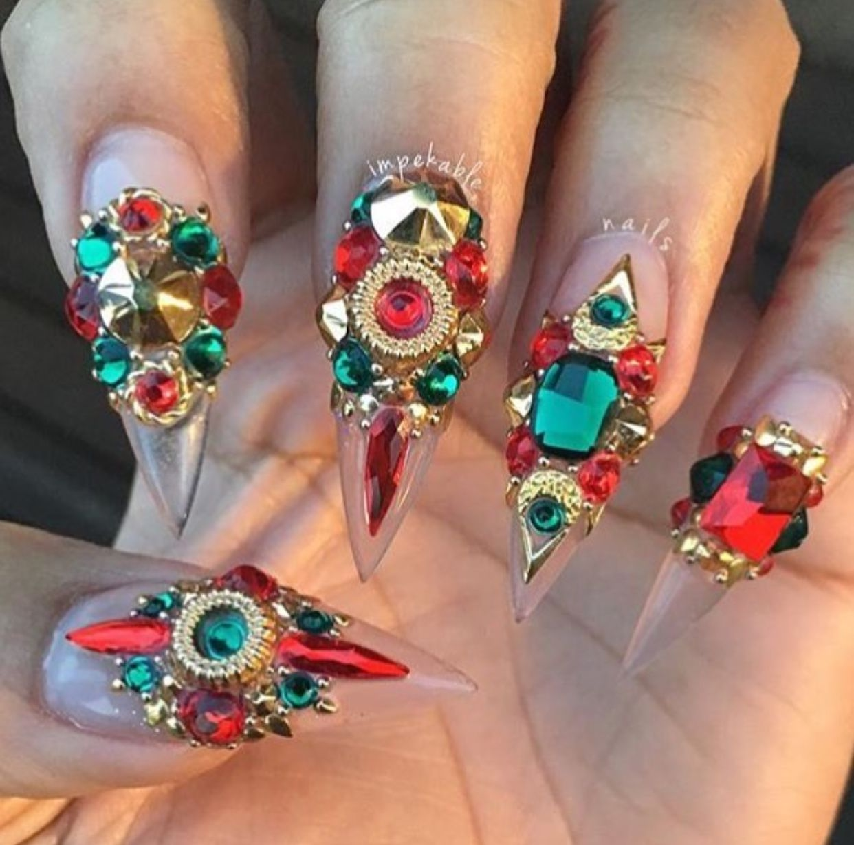 Red Green Gold Nails | Diamond Nails Designs | Stiletto Acrylic ...