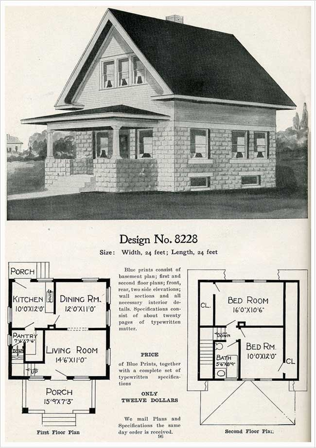 1909 Radford Cement Homes No 8228 Architectural Design House Plans House Plans Vintage House Plans