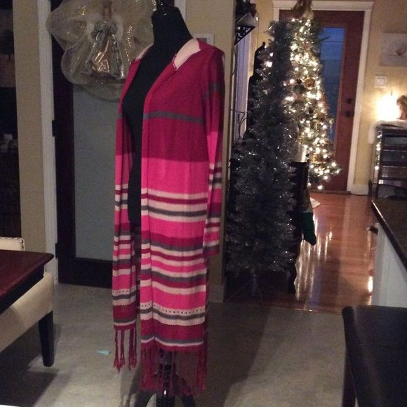 Long  Hooded Sweater Coat New sz M Long sweater light weight with long fringe on bottom nice stripe design. Fabric shown in pic. Cute hood on back. Say What Jackets & Coats