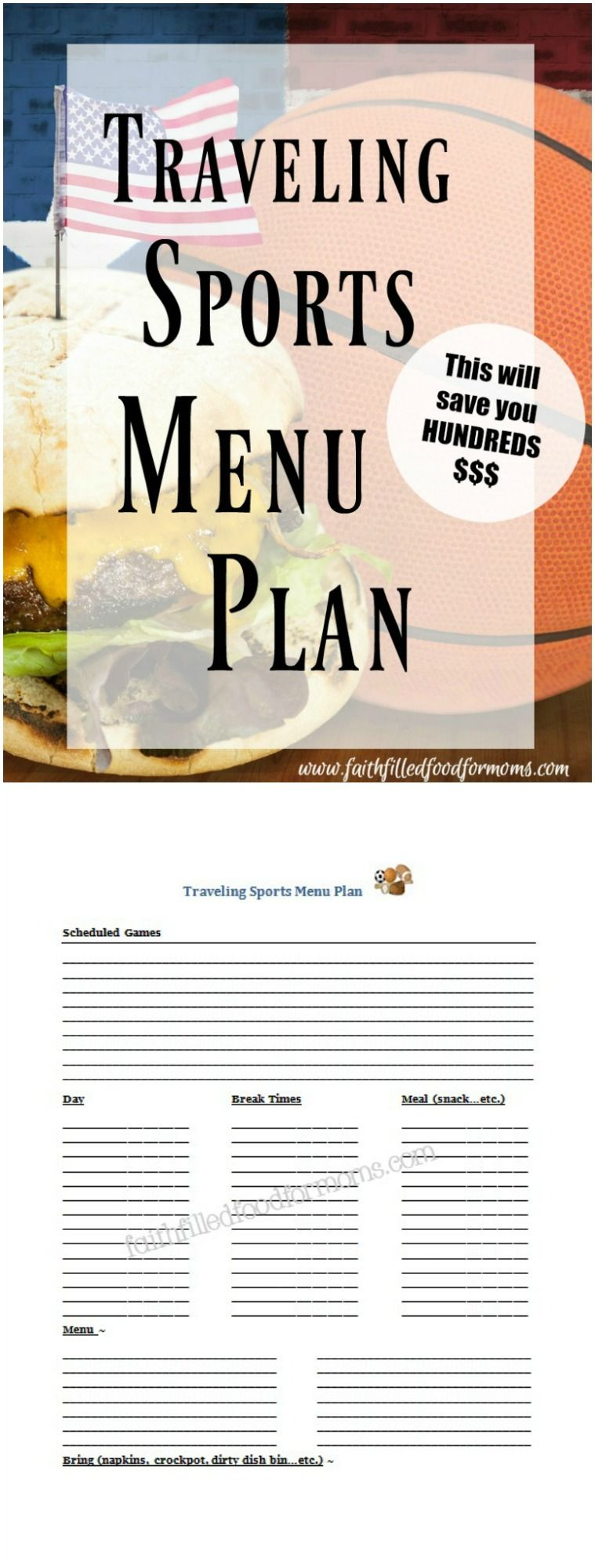 Traveling Sports Menu Plan With Printable Planner Parents Of Athletes Grab Your Food And