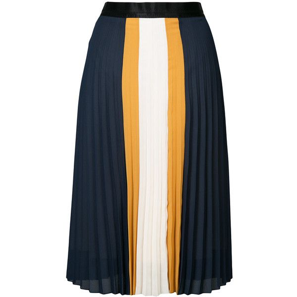 c263b0dae1 Guild Prime colour-block pleated skirt (3,650 EGP) ❤ liked on Polyvore  featuring skirts, blue, blue pleated skirt, knee length pleated skirt, block  skirt, ...