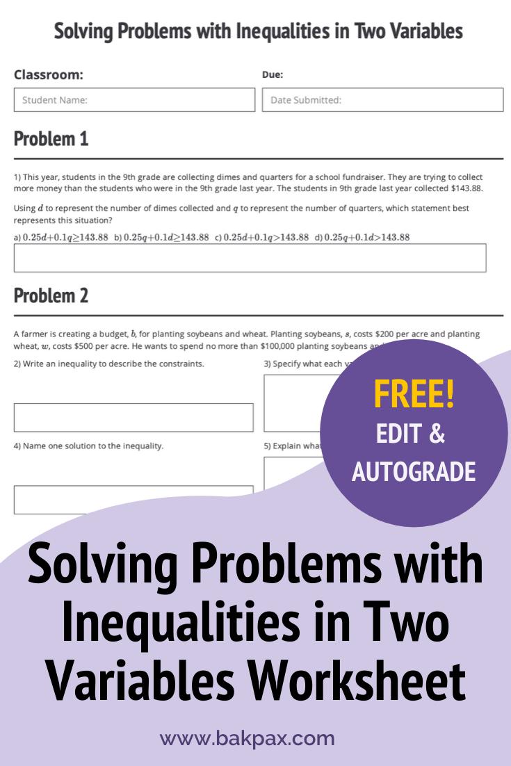 Free Solving Problems With Inequalities In Two Variables Algebra 1 Worksheet Free Algebra Problem Solving Algebra Worksheets [ 1102 x 735 Pixel ]