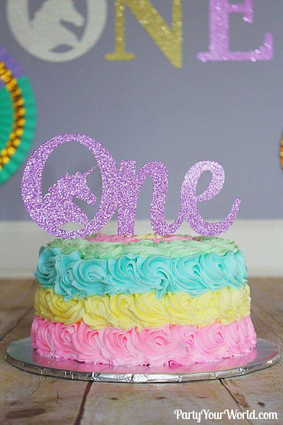 Unicorn Pastel Rainbow One Cake Topper Unicorn Party Decorations