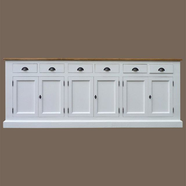 Meuble buffet enfilade en pin massif blanc et cir 6 portes made in meubles - Meuble pin massif blanc ...