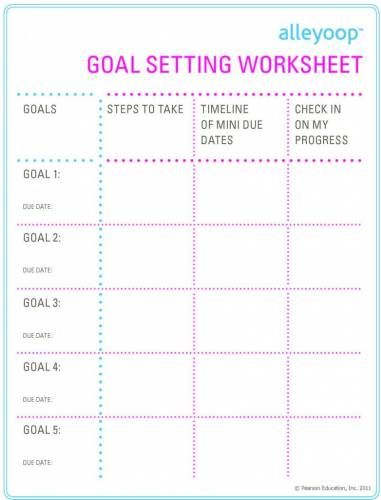 School Goal Setting Worksheet Posts related to Worksheets For High