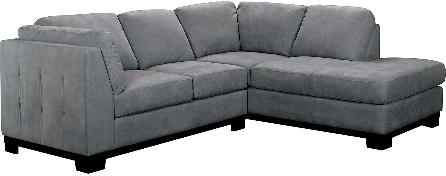 The Brick Oakdale Microsuede Sectional W Right Facing Chaise Azure