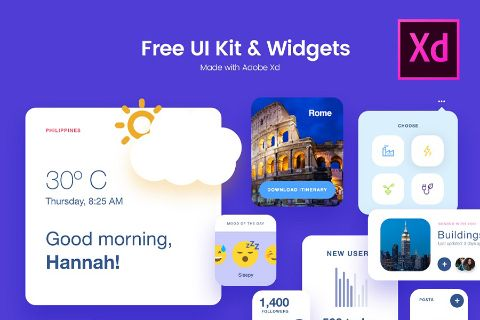 Free Adobe Xd UI Kit Widgets | Mobile/Tablet App Design