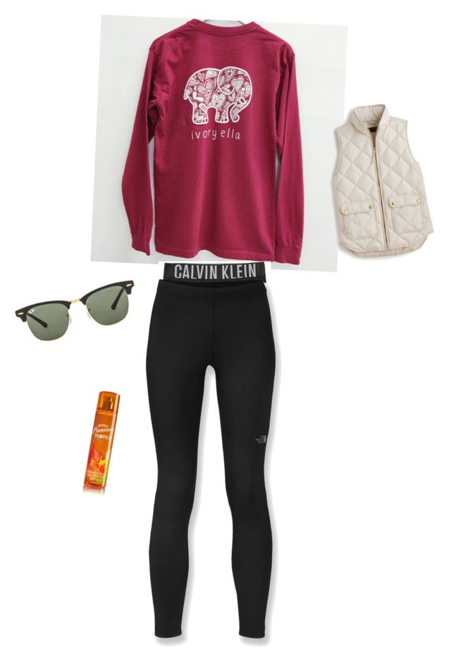 """""""Lax game Friday """" by preppy2015 ❤ liked on Polyvore featuring moda, Calvin Klein Underwear, J.Crew, Ray-Ban, The North Face, women's clothing, women, female, woman e misses"""