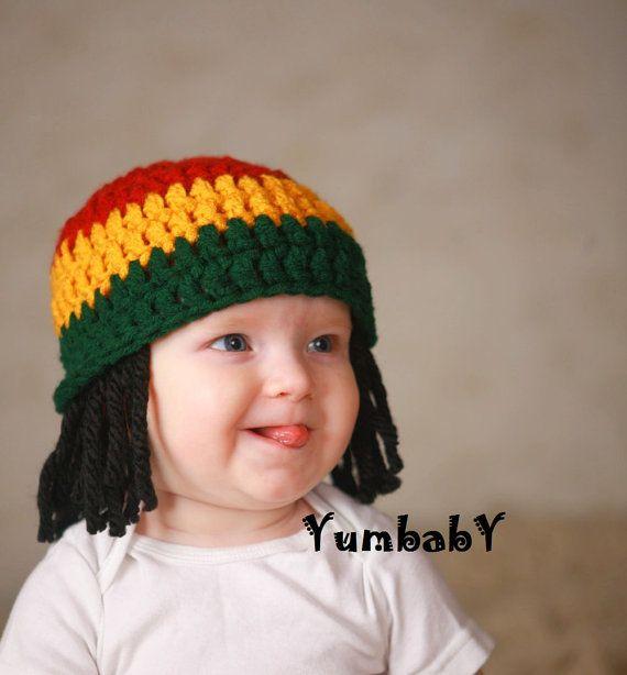Cute Toddler Kids Crochet Knit beanie cap reggae rasta jamaica costume wig