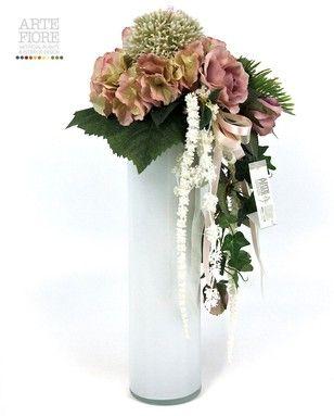 Composizione floreale fiori artificiali in tessuto for Orchidea finta