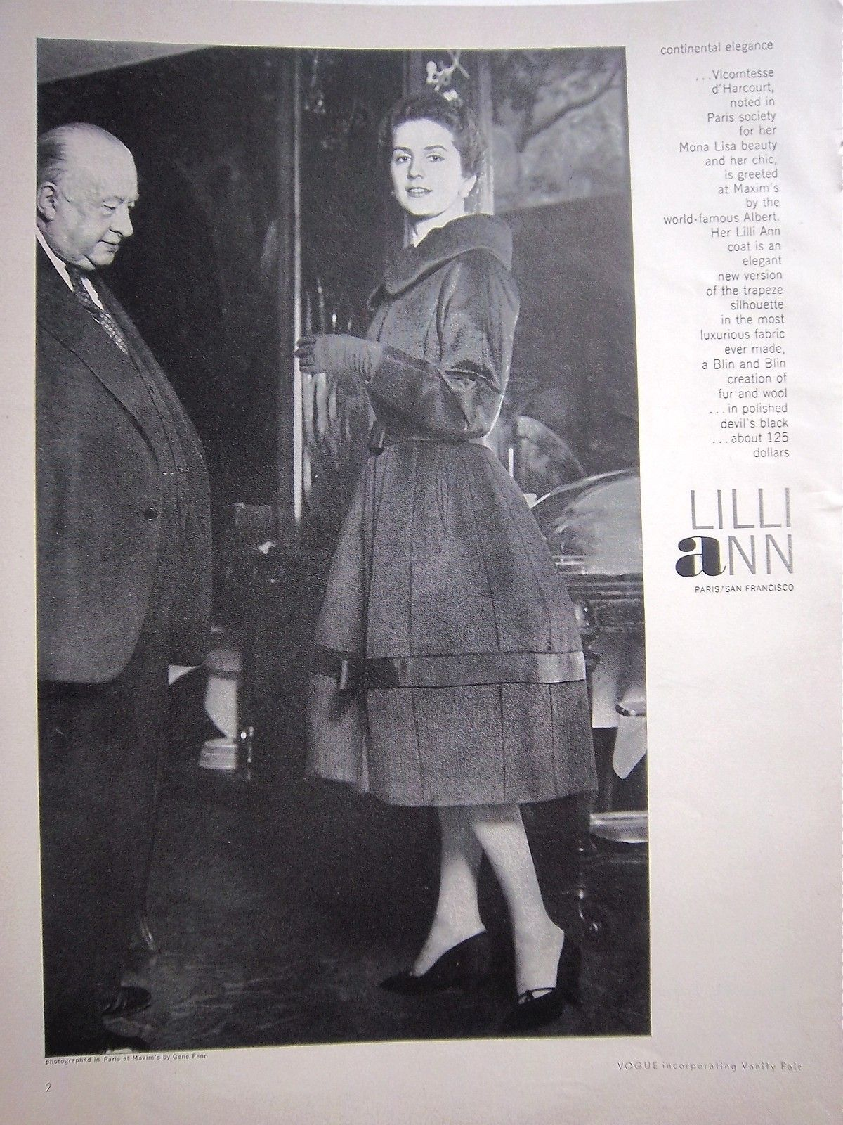 Vintage clothes fashion ads of the 1940s page 22 - 1958 Vintage Lilli Ann Womens Coat Vicomtesse Of Harcourt In Paris Fashion Ad Ebay