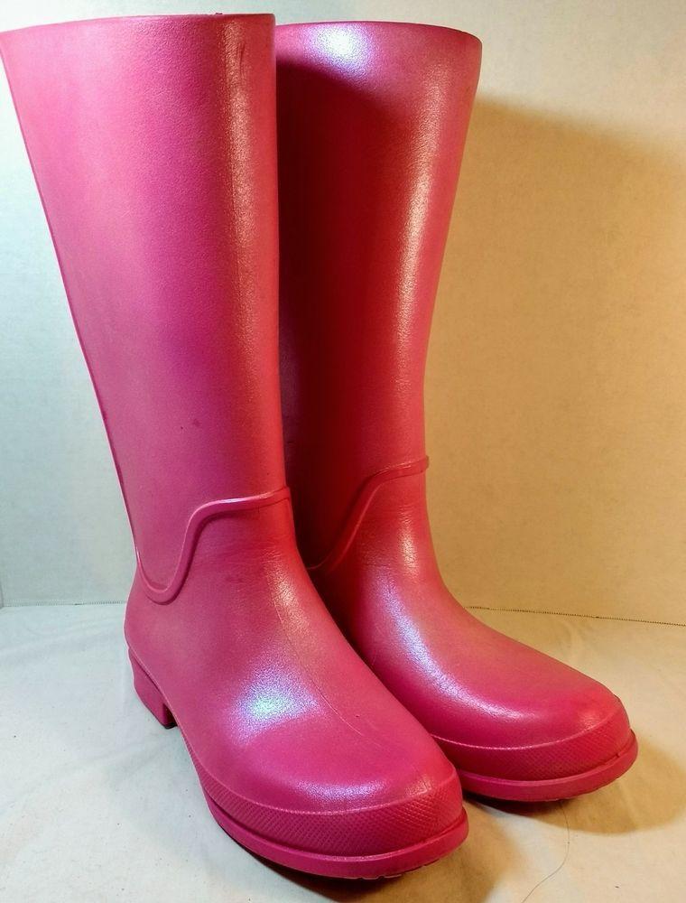 7da798599 Crocs Womens Pink Metallic Waterproof Rain Boot Shoes Sz 8  fashion   clothing  shoes  accessories  womensshoes  boots (ebay link)
